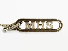 Alma Mater Keychain in Polished Bronzed-Silver Steel