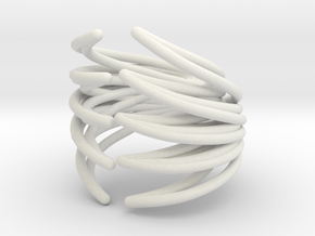 Rib Cage Ring 2 in White Natural Versatile Plastic