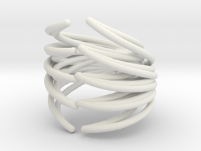 Rib Cage Ring in White Natural Versatile Plastic