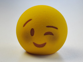 3D Emoji Winking with Blush in Full Color Sandstone