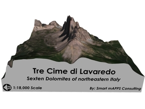 "Tre Cime di Lavaredo Color Map (6""x6"") in Matte Full Color Sandstone"