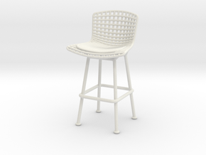 1:12 Miniature Bertoia Barstool - Harry Bertoia in White Natural Versatile Plastic: 1:12