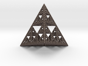 Sierpinski Pyramid in Polished Bronzed Silver Steel