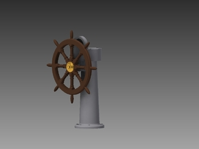 Ships wheel and post 1/32 in Smooth Fine Detail Plastic