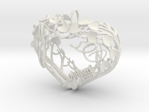 Heart Branches - Ornament in White Natural Versatile Plastic: Small