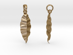Fractal Leaves Earrings in Polished Gold Steel
