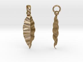 Fractal Leaves Earrings in Polished Gold Steel