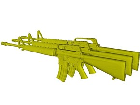 1/20 scale Colt M-16A1 rifles x 3 in Smooth Fine Detail Plastic