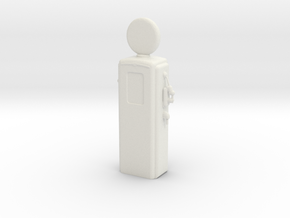 HO Scale Old Gas Pump in White Natural Versatile Plastic