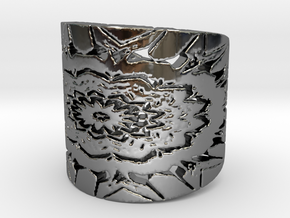 Native flower shield Ring in Fine Detail Polished Silver: 6 / 51.5
