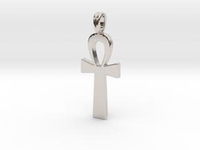 Ankh Symbol Jewelry Pendant Small 2 Cm in Rhodium Plated Brass