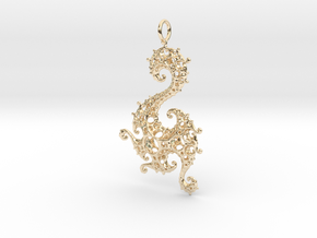 Klein Dragon Pendant in 14k Gold Plated Brass