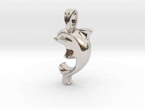 14k Gold Dolphin Necklace in Platinum