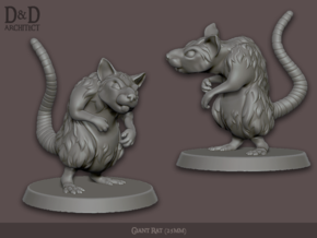 Giant Rat Miniature in White Natural Versatile Plastic