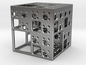 NewMenger - small fractal sculpture in Natural Silver