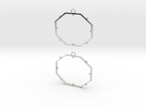 Octagonal Dot Earrings in Platinum