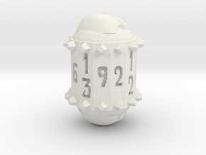 13-Sided Die in White Natural Versatile Plastic