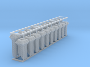 HO Fancy Brick Chimneys Block of 20 in Smooth Fine Detail Plastic