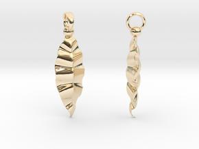 Fractal Leaves Earrings in 14K Yellow Gold