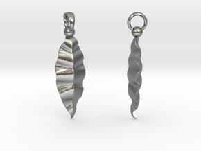 Fractal Leaves Earrings in Natural Silver