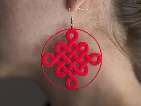 Chinese Knot Earrings in Red Processed Versatile Plastic