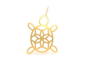 Turtle Mandala Pendant in 18k Gold Plated Brass