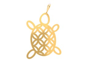 Turtle Flower Pendant in 18k Gold Plated Brass