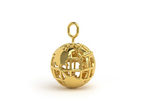 Earth Pendant in Polished Brass