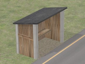 Bus stop shelter in 1:87 H0 scale in White Natural Versatile Plastic