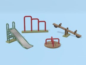 Playground in 1:87 H0 scale in White Natural Versatile Plastic
