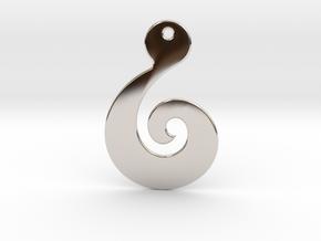 Maori Pendant - thin (2mm thick) in Rhodium Plated Brass