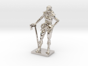 Female Warrior in Rhodium Plated Brass