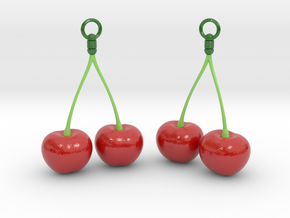 Cherry Earrings in Glossy Full Color Sandstone