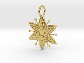 Egyptian Star Flower Pendant in Polished Brass: Medium