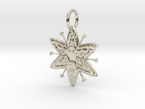 Egyptian Star Flower Pendant in 14k White Gold: Medium