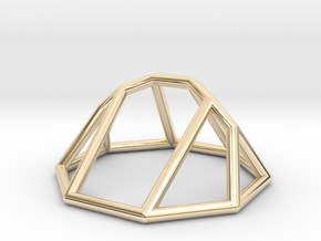 """Minimal """"irregular"""" polyhedron in 14k Gold Plated Brass: Small"""