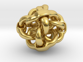 Octa Eyeo - 3D Linked object in Polished Brass (Interlocking Parts)