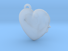 Exit Wound Heart Pendant in Smooth Fine Detail Plastic