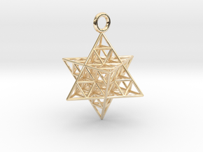Star Tetrahedron Fractal 25mm or 32mm in 14k Gold Plated Brass: Medium