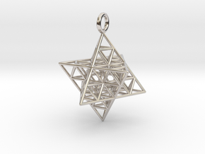 Star Tetrahedron Fractal 35mm in Rhodium Plated Brass