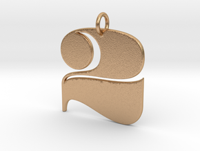Numerical Digit Two Pendant in Natural Bronze