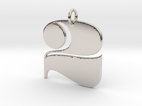 Numerical Digit Two Pendant in Platinum