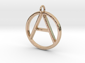 Monogram Initials AO Pendant  in 14k Rose Gold Plated Brass