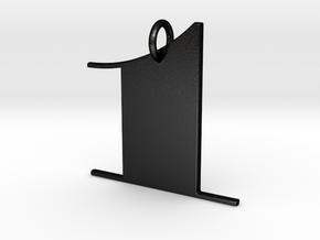 Numerical Digit One Pendant in Matte Black Steel