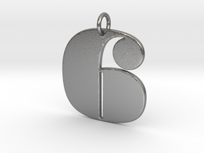 Numerical Digit six Pendant in Natural Silver