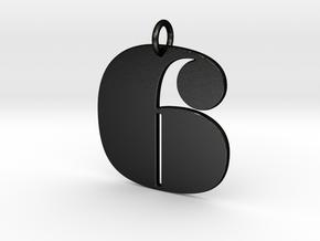 Numerical Digit six Pendant in Matte Black Steel