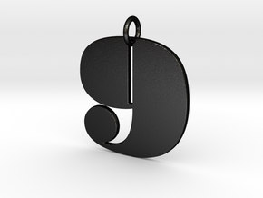 Numerical Digit Nine Pendant in Matte Black Steel
