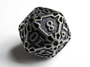 Large Premier d20 in Polished Bronzed Silver Steel
