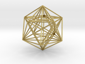 Icosahedron Dodecahedron Nest in Natural Brass
