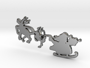 Santa and His Sleigh Pendant in Fine Detail Polished Silver